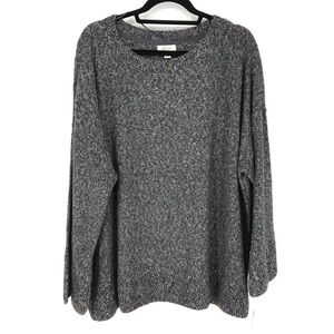Style & Co Sz 3X Marled Knit Pullover Gray Sweater